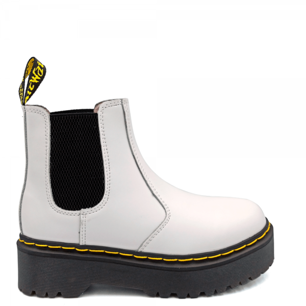 Ботинки Dr. Martens Chelsea Platform Fur White
